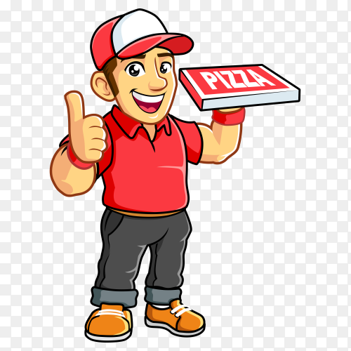 Pizza delivery boy with red t-shirt PNG