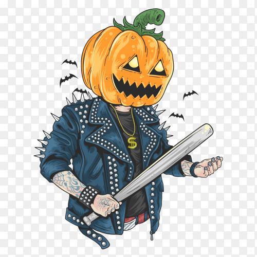 Pumpkin head rocker in halloween PNG