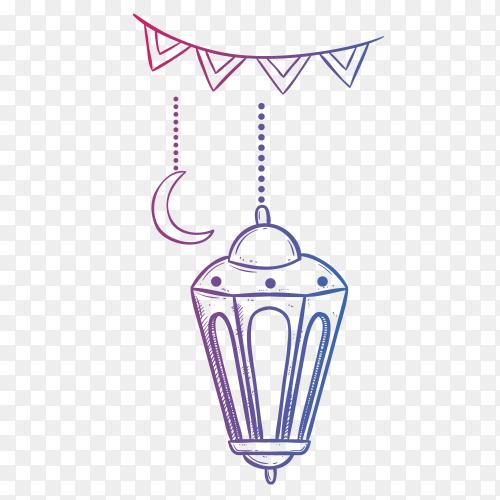 Ramadan kareem lantern doodle style PNG