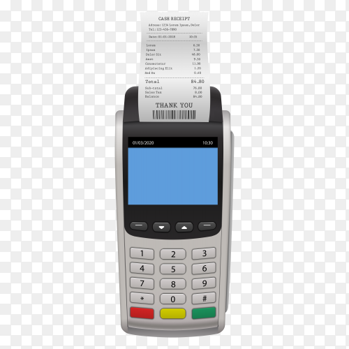 Realistic payment terminal PNG