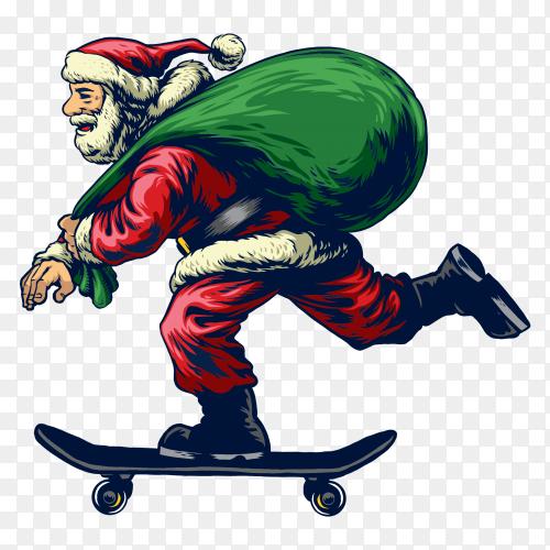 Santa claus riding skateboard PNG