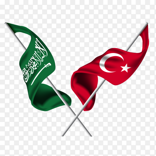 Saudi Arabia flag with Turkey flag PNG