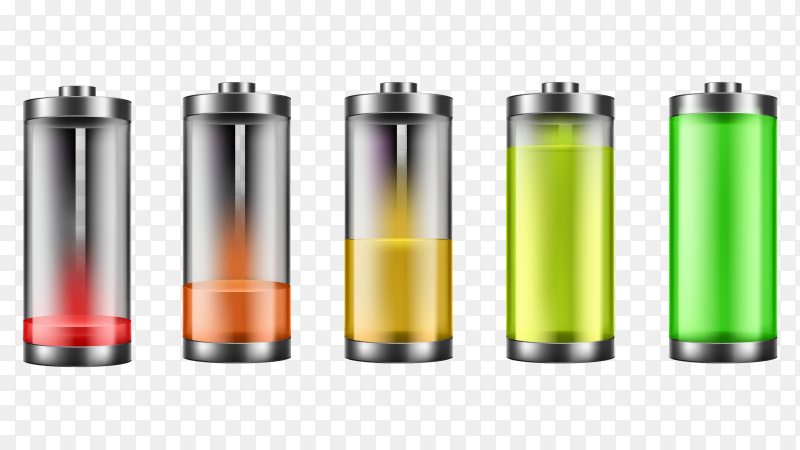 Set of battery charge indicators with low and high energy levels PNG