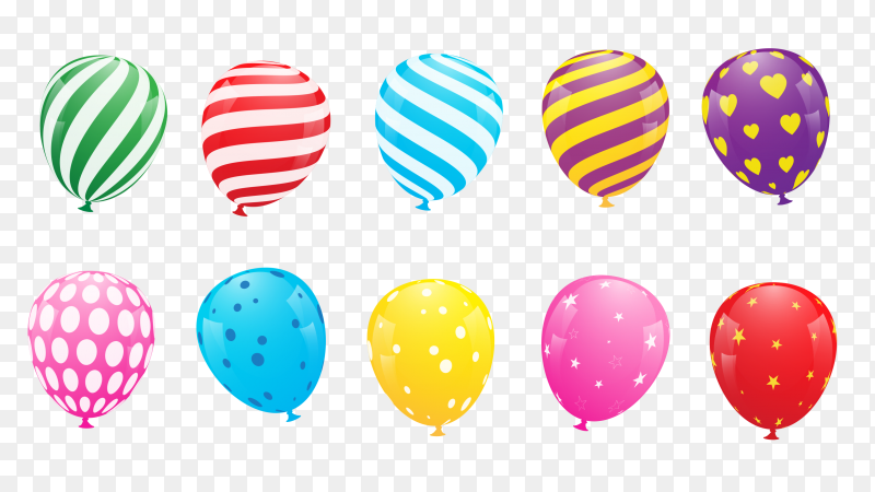 Set of realistic colorful balloons vector PNG