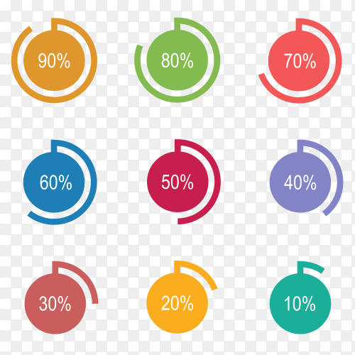 Colorful circle Loading and Progress from 10% to 90% Vector PNG