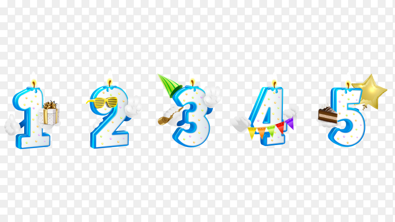 Set of numbers happy birthday with candle from 1 to 5 PNG