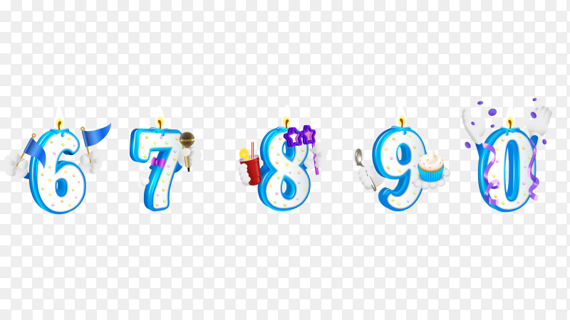 Set of numbers happy birthday with candle from 6 to 0 PNG