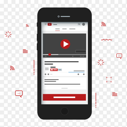 Flat youtube multimedia player template PNG