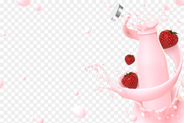 3D render strawberry milk splash PNG