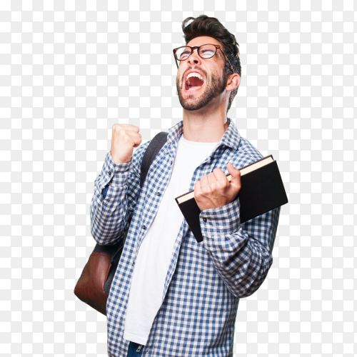 Student man holding a book PNG