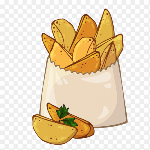French fries cartoon Vector PNG