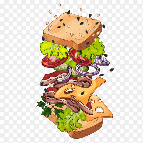 Sandwich – Vector fast food PNG