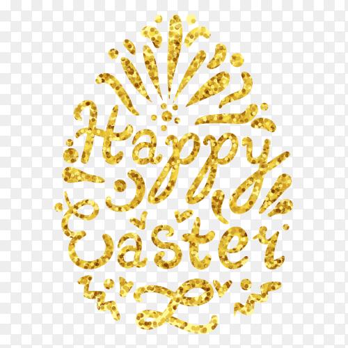 Vintage gold happy easter lettering in egg PNG