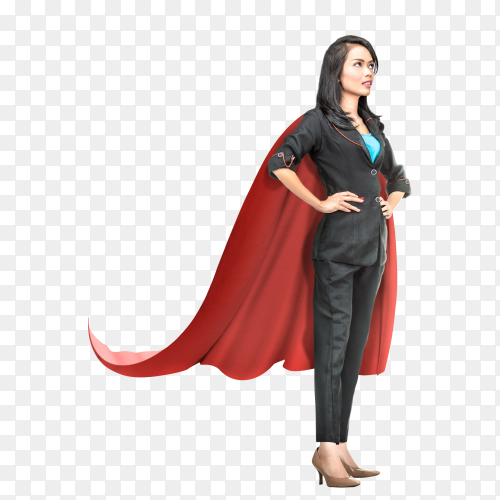 Young asian business woman with red cape PNG