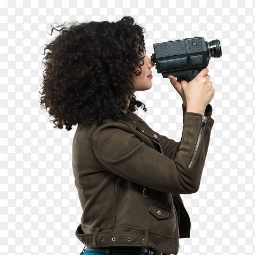 Young woman holding a video camera PNG