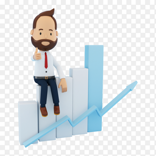 3D cartoon character with statistic graph PNG