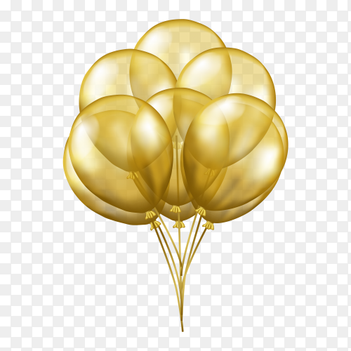 3D flying gold transparent balloons PNG