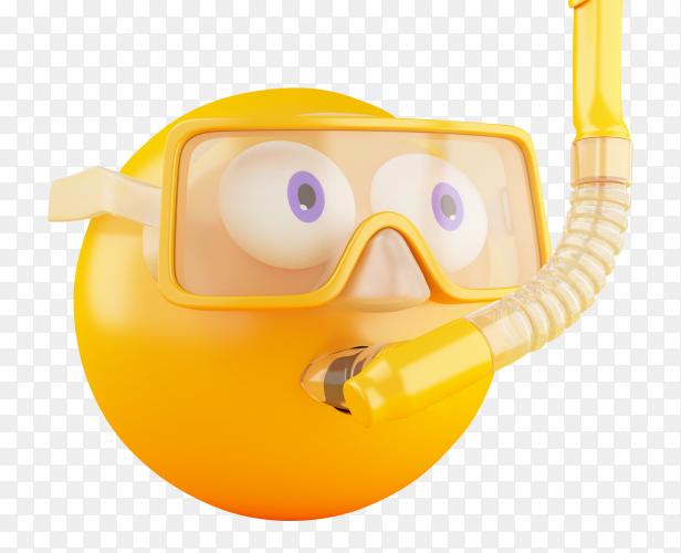 3D emoji with scuba diving PNG