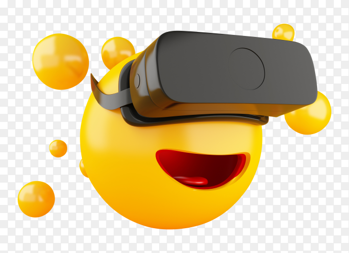 3D emoji with vr headset PNG