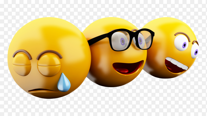 3D emojis icons with facial expressions PNG