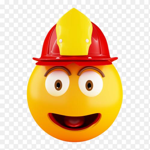 3D fireman emoji with helmentv PNG