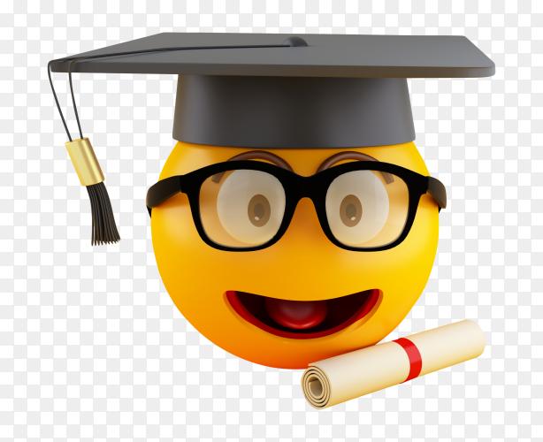 3D graduation emoji with graduation cap diploma PNG