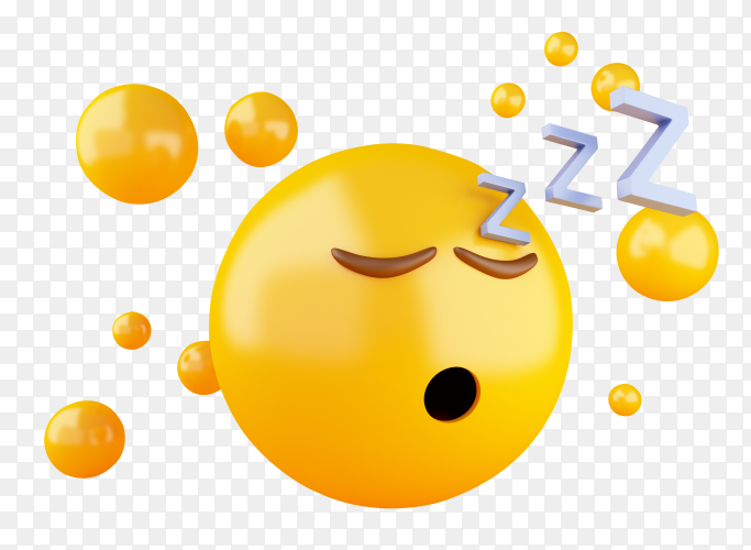 3D illustration sleeping emoji icon yellow background PNG