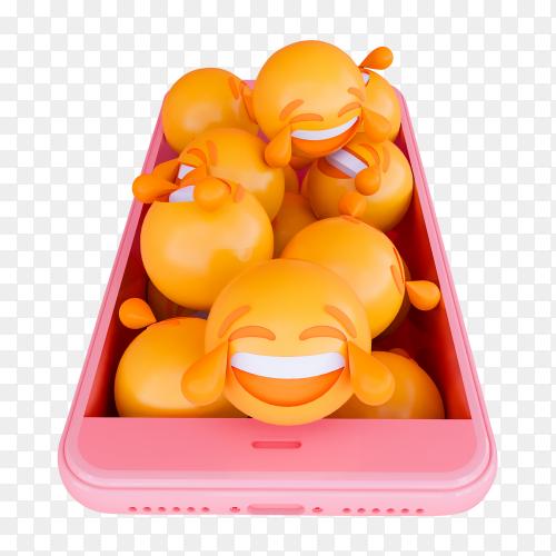 3D motion emoji face smart phone PNG