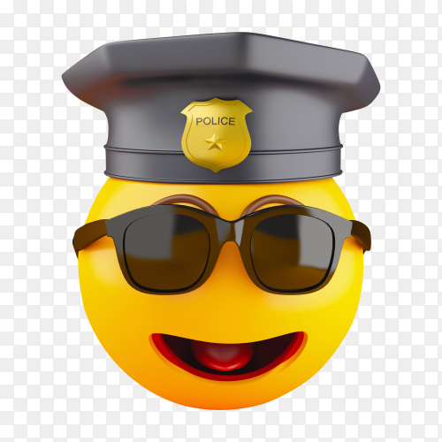 3D policeman emoji icons with police cap PNG