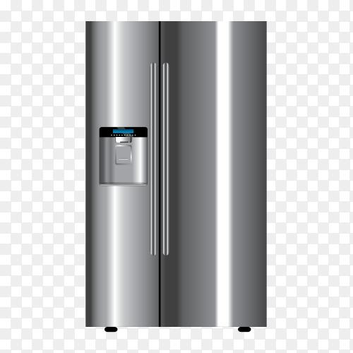 3d realistic gray refrigerator – fridge vector PNG