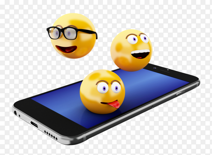 3D smartphone with emoji icons PNG