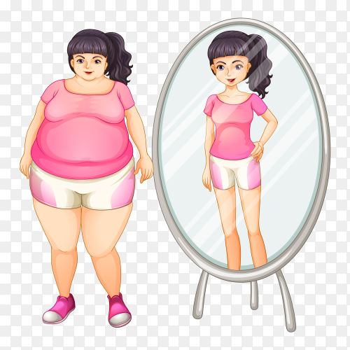 A fat girl and her slim version in the mirror Vector PNG