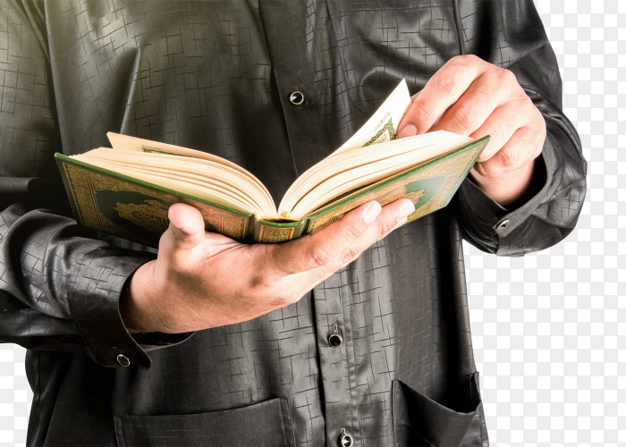 A man reads the Holy Quran transparent PNG