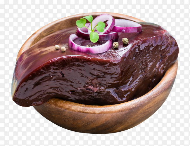 A piece of raw beef liver in a bowl with ingredients for cooking PNG