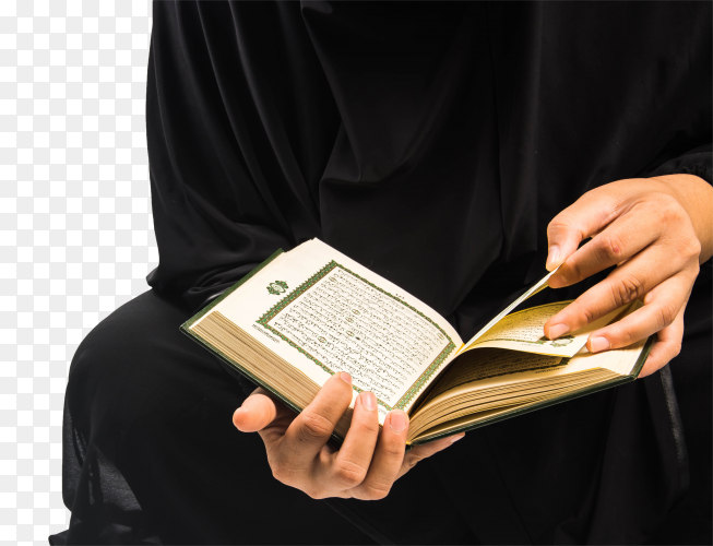 A woman reads the Holy Quran PNG