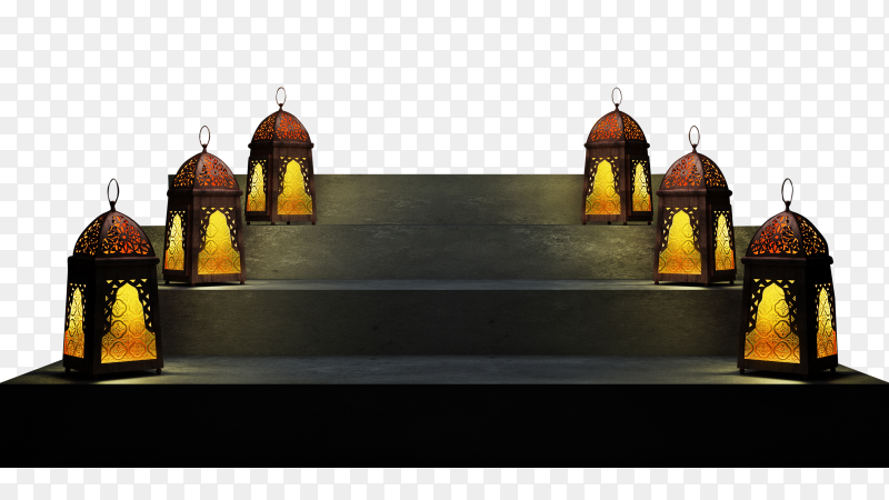 An illuminated colorful ramadan lantern on the stairs PNG