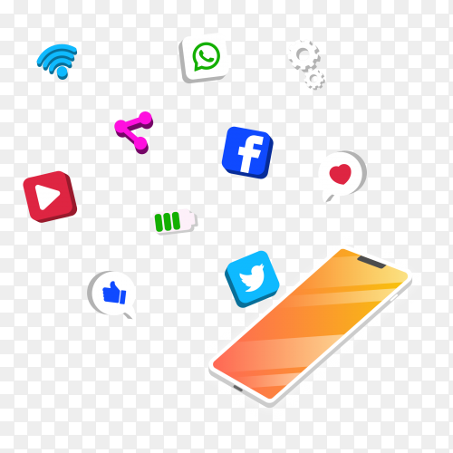 Antigravity mobile phone isometric style Vector PNG