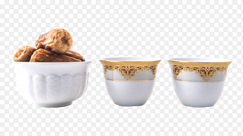 Arabic coffee cups with bowl full of dates transparent PNG