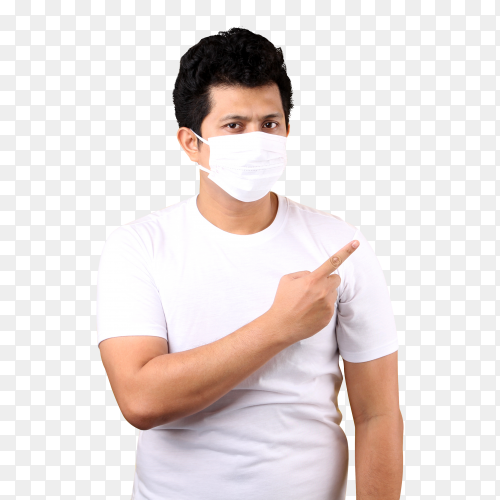 Asian man wearing a mask is sick pointing finger PNG