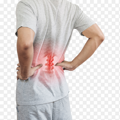 Backache and lower back pain concept transparent PNG
