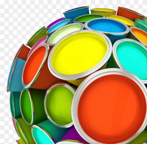 Banks of multicolored paint in sphere 3D rendering PNG
