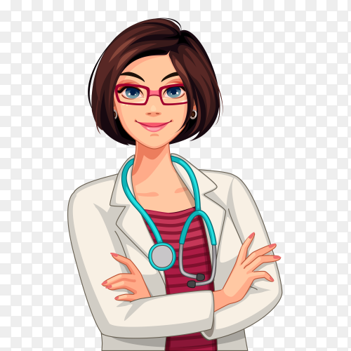 Beautiful doctor vector illustration PNG