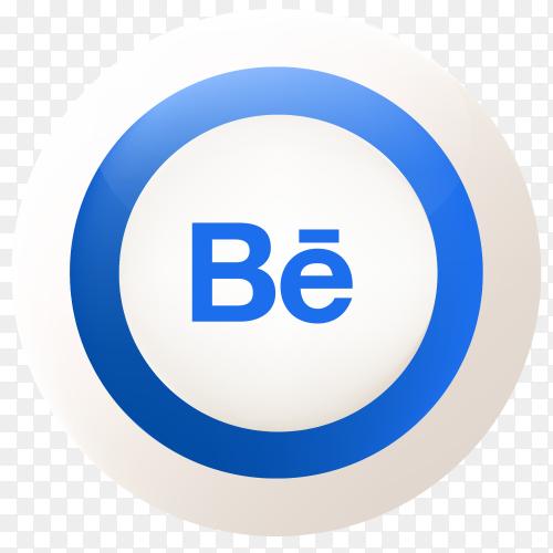 Behance button design vector PNG
