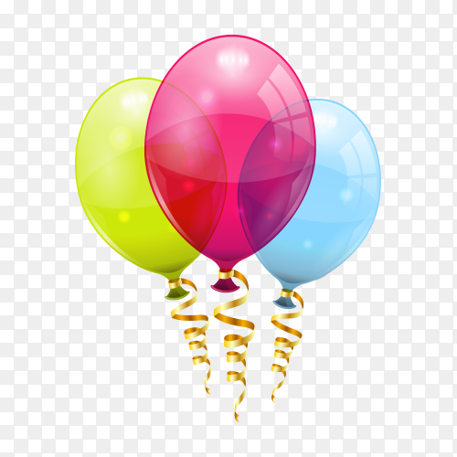 Birthday balloons and golden streamer Vector PNG