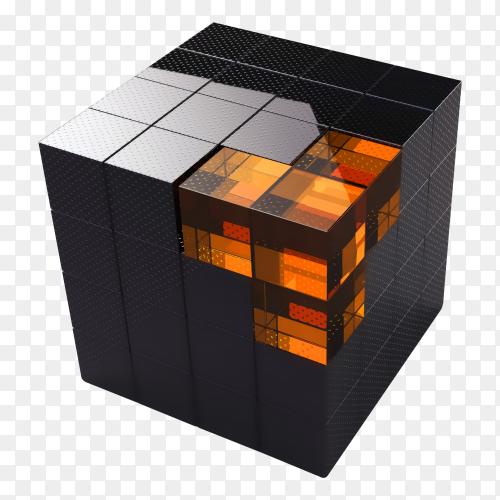 Black 3d futuristic cube transparent PNG