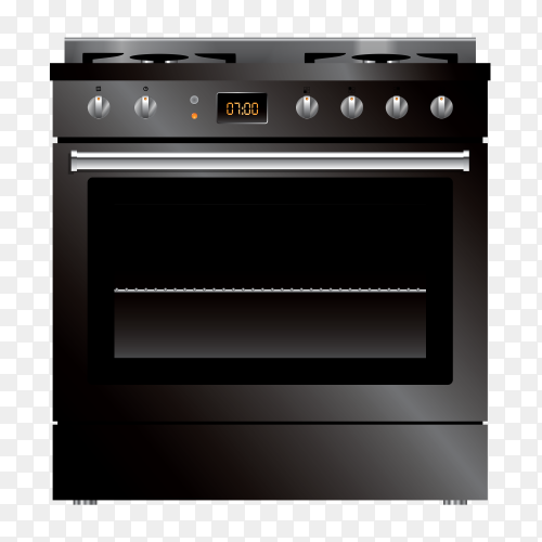 Black gas oven – stove vector PNG