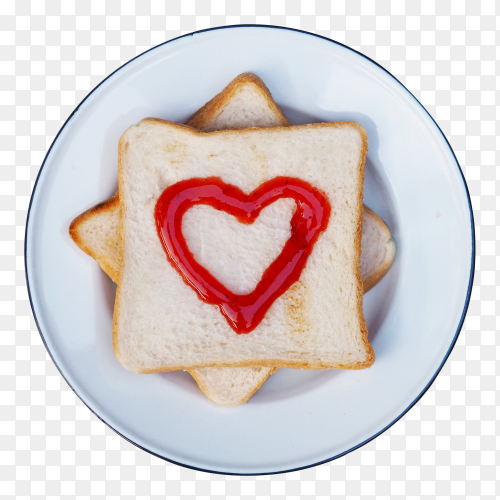 Bread with red fruit jam heart shape on white plate PNG