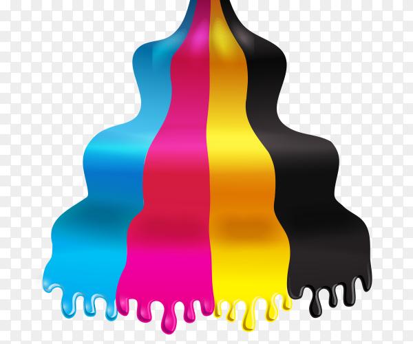 CMYK ink drops vector PNG