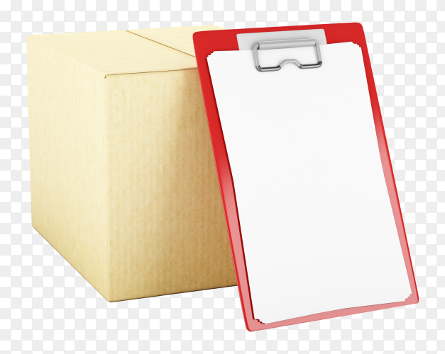 Cardboard box with check list transparent background PNG