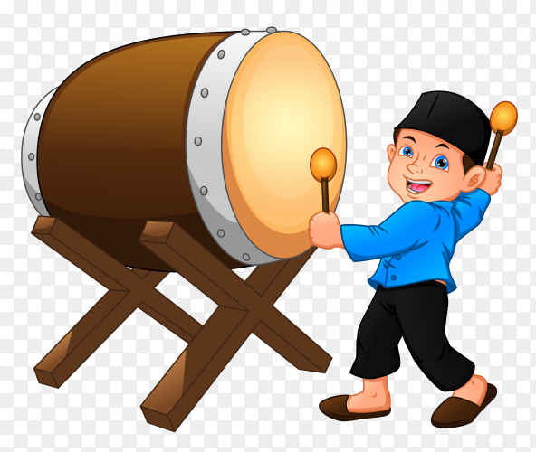 Cartoon muslim boy hitting bedug vector PNG